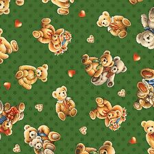 SMALL BEAR HUGS TOSSED TEDDY BEARS GREEN #4410 COTTON SEW BTY FABRI-QUILT FABRIC