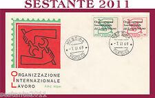 ITALIA FDC SILIGATO ORGANIZZAZIONE INTERNAZIONALE LAVORO 1969  ANN. MESSINA G199