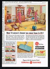 1957 GE General Electric Roll Easy Vacuum Cleaner Vintage Print Ad