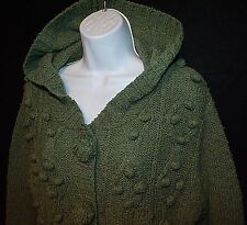 Vtg APRiL CORNELL slouchy hood pom-pom cable knit green cardigan sweater artsy S