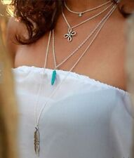Fashion Four Layers Star/Turquoise stone/Flower/Feather Pendant Chain Necklace