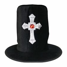 Black Velvet Halloween Gothic Gravedigger Undertaker Silver Cross Top Hat