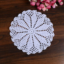 Pure Cotton Yarn Hand Crochet Lace Doily Placemat Round 20CM White Table Cup Mat