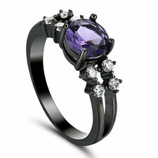Purple Amethyst Solitaire Wedding Rings Women's 10Kt Black Gold Filled Size 7.5