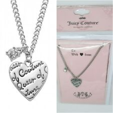 JUICY COUTURE silver tone Heart & simulated crystal Charm Necklace CARDED new