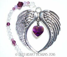 m/w Swarovski RARE AB AMETHYST HEART Angel Wings Suncatcher Lilli Heart Designs