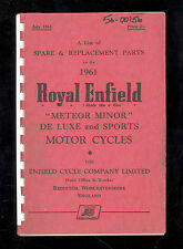 1961 ROYAL ENFIELD MODEL 500cc METEOR MINOR / De LUXE & SPORT PARTS MANUAL
