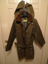 BARBOUR- 1960'S VINTAGE-YELLOW LABEL SOLWAY JACKET WITH BELT & HOOD-RARE-38