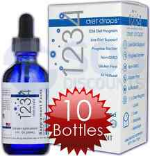 CREATIVE BIOSCIENCE 1234 DIET DROPS FACTORY SEAL 10 BOTTLES WEIGHT LOSS HCG FREE