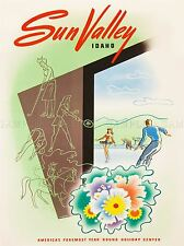 VINTAGE TRAVEL WILLMARTH SUN VALLEY IDAHO AMERICA ART POSTER PRINT LV5044