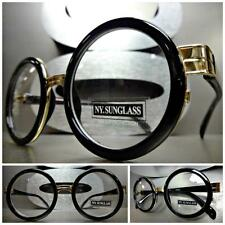 Mens Women CLASSIC VINTAGE Style Clear Lens EYE GLASSES Round Black & Gold Frame