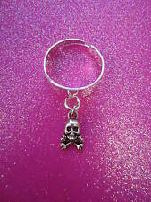 Adjustable Skull and Crossbones Charm Dangle Ring