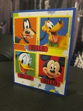 """Stampin Up  """"Hello"""" Handmade Card Made with Mickey Mouse & Friends Paper"""