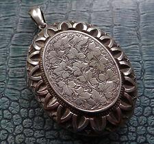 antique Victorian SILVER BIG ornate leaf flower photo locket pendant -D147