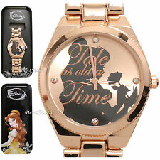 Disney Beauty & the Beast Belle Silhouette with Rose Watch in Metal Tin NEW