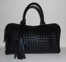 Banana Republic Black Woven Doctors Bag Style Purse Handbag