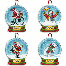 Cross Stitch Kit ~ Dimensions Set of 4 Snow Globe Christmas Ornaments #SNGL4