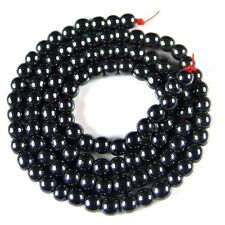 "4mm round black hematite gemstone spacer loose beads stone 15.5"" ast st048"