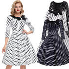 Vintage Retro 40's 50's 60s POLKA DOTS Pleated Swing Pinup Housewife Prom Dress