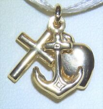 9CT YELLOW GOLD FAITH HOPE CHARITY HEART ANCHOR CROSS CHARM PENDANT