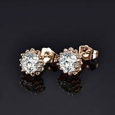 Stunning White Sapphire Crystal 18K Yellow Gold Filled Fashion Stud Earrings