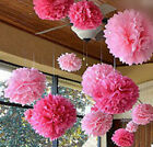 20PCS Flower Kissing Ball Tissue Paper Wedding Party Supplies Pink Color