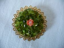 Vtg. Green Glass Nugget Stones Filigree Scrollwork PIN~ BROOCH~UNIQUE!!!
