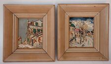 Pair Vintage Miniature Paintings European Street Scene Gouache on Paper