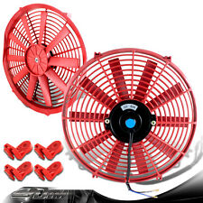 """Red 14"""" High Performance Electric Cooling Pull/Push Slim Radiator Fan For Honda"""