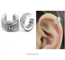 1x Rhodium 925 Sterling Silver Round Clear Cz Crystal Clip Earring Ear Cuff Wrap