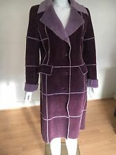 Ladies Jesire Long Purple Leather Coat With Fur Lining UK Size 6 EU 34