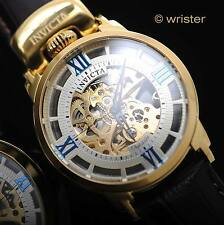 Automatic Invicta Objet D Art Skeleton Gold Brown Leather Top Crown Men's Watch