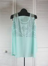 Women's Tops & Blouses Blu Pepper NWOT Studded Bell Tank Top Large Aqua (S/CAD)