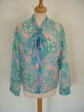 Vintage 60s floral chiffon tie-neck pussy bow long sleeve blouse UK 18 20