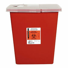 Multi-Purpose Sharps Container, 1-Piece, 8 Gallon, Red Base, Hinged Lid, C-8980