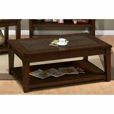 Jofran Lexington Rectangular Wood and Glass Coffee Table in Brown