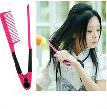 Women Salon Hairdress DIY Hair Styling Hair Straightener Folding V Shape Comb