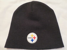 NEW NFL Team Apparel Pittsburgh Steelers Logo Black Beanie Knit Cap Hat Adult