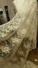 "2M BRIDAL IVORY  SCALLOPED LACE EMBRIOUDED SEQUIN FABRIC 58"" WIDE"