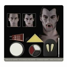 Mens Halloween Vampire Count Dracula Make Up Kit Face Paint + Teeth Fancy Dress