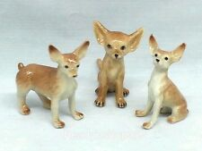 Chihuahua Figurine Dog Collectible Miniature Ceramic Animal Hand Painted Brown
