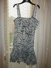 BNWT River Island Dress Size 14 £45 White Grey Geometric Sequins Sundress Party