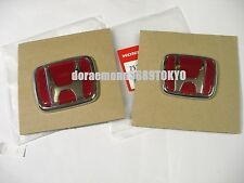 1997-2000 JDM HONDA CIVIC TYPE R  EK9  FRONT RED H + REAR RED H EMBLEM NOS