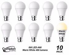 10 Pack Quality LED 6W Pearl Light Globes / Bulbs A60 GLS Bayonet B22