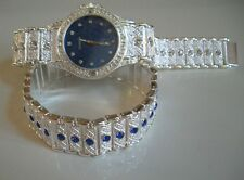 SILVER FINISH GENEVA MEN'S BLUE & ClEAR CRYSTAL WATCH AND BRACELET SET