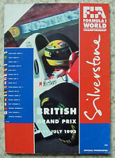 BRITISH GRAND PRIX 1993 FORMULA ONE F1 SILVERSTONE Official Race Programme