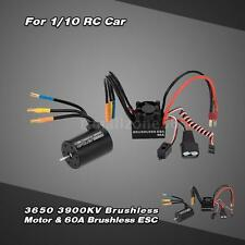 3650 3900KV 4P Sensorless Brushless Motor & 60A ESC w/BEC for 1/10 RC Car W8G3
