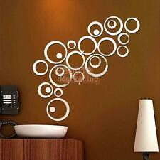 Modern Style Ring Circle Mirror Wall Clock Watch Sticker Removable Home Decor #P