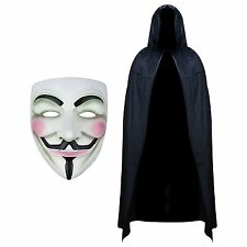 Anonymous V per Vendetta Guy Maschera Halloween Fancy Dress con Cappuccio Velluto Mantello