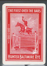 Playing Swap Cards 2 VINT WIDE U.S. WHISKEY ADVT  HORSE JUMPING & RIDER D12 PAIR